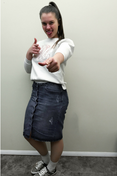 Caitlyn in a modest outfit (Chic top with button down jean skirt)